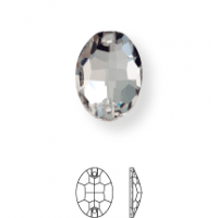Oval pietre da cucire piatto 2 fori 10x7mm Crystal UF Transparent