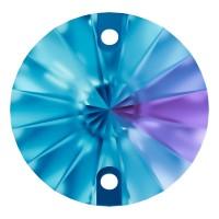 Rivoli pietre da cucire piatto 2 fori 10mm Blue Zircon F