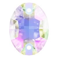 Oval pietre da cucire piatto 2 fori 18x13mm Crystal AB F