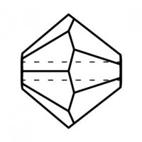 Bicono Perla di vetro sfaccettata 4mm Black Diamond AB 2x