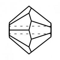 Bicono Perla di vetro sfaccettata 4mm Chrysolite AB
