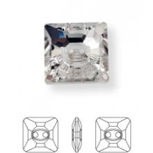 Square bottone strass 2 fori 16mm Crystal UF Transparent