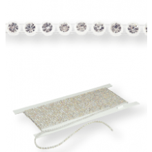 Gallon strass in platica ss13 (4,1mm) 2 rows, Crystal F (C00030), Transparent plastic base, White threads
