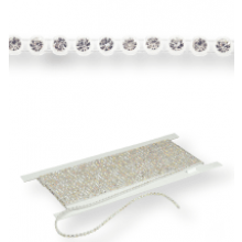 Gallon strass in platica ss10 (3,5mm) 1 row, Crystal F (C00030), Transparent plastic base, White threads