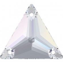 Triangle pietre da cucire 3 fori 22mm Crystal AB F