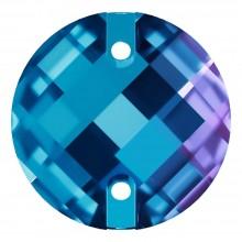 Chessboard pietre da cucire piatto 2 fori 16mm Blue Zircon F