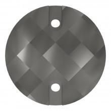 Chessboard pietre da cucire piatto 2 fori 16mm Jet Hematite