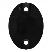 Oval pietre da cucire piatto 2 fori 24x17mm Jet