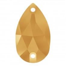Pearshape pietre da cucire piatto 2 fori 14x10mm Crystal Aurum F