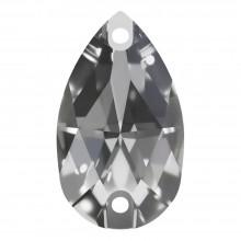 Pearshape pietre da cucire piatto 2 fori 25x16mm Crystal F