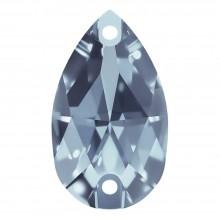 Pearshape pietre da cucire piatto 2 fori 18x11mm Light Sapphire F