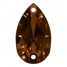 Pearshape pietre da cucire piatto 2 fori 28x17mm Smoked Topaz F