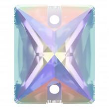 Baguette pietre da cucire piatto 2 fori 18x13mm Crystal AB F
