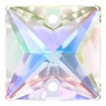 Square pietre da cucire piatto 2 fori 22mm Crystal AB F