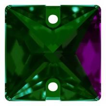 Square pietre da cucire piatto 2 fori 16mm Emerald F