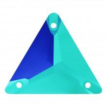 Triangle pietre da cucire piatto 1 fori 22mm Jet AB