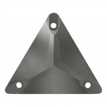 Triangle pietre da cucire piatto 1 fori 22mm Jet Hematite