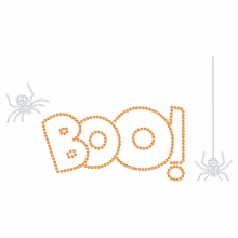 "Halloween Cartina Strass Termoadesivo ""Boo"" 226x124mm"