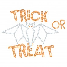 "Halloween Cartina Strass Termoadesivo ""Trick or Treat"" 168x127mm"