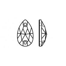 Pearshape 301 pietre da cucire 2 fori 28x17mm Crystal AB F