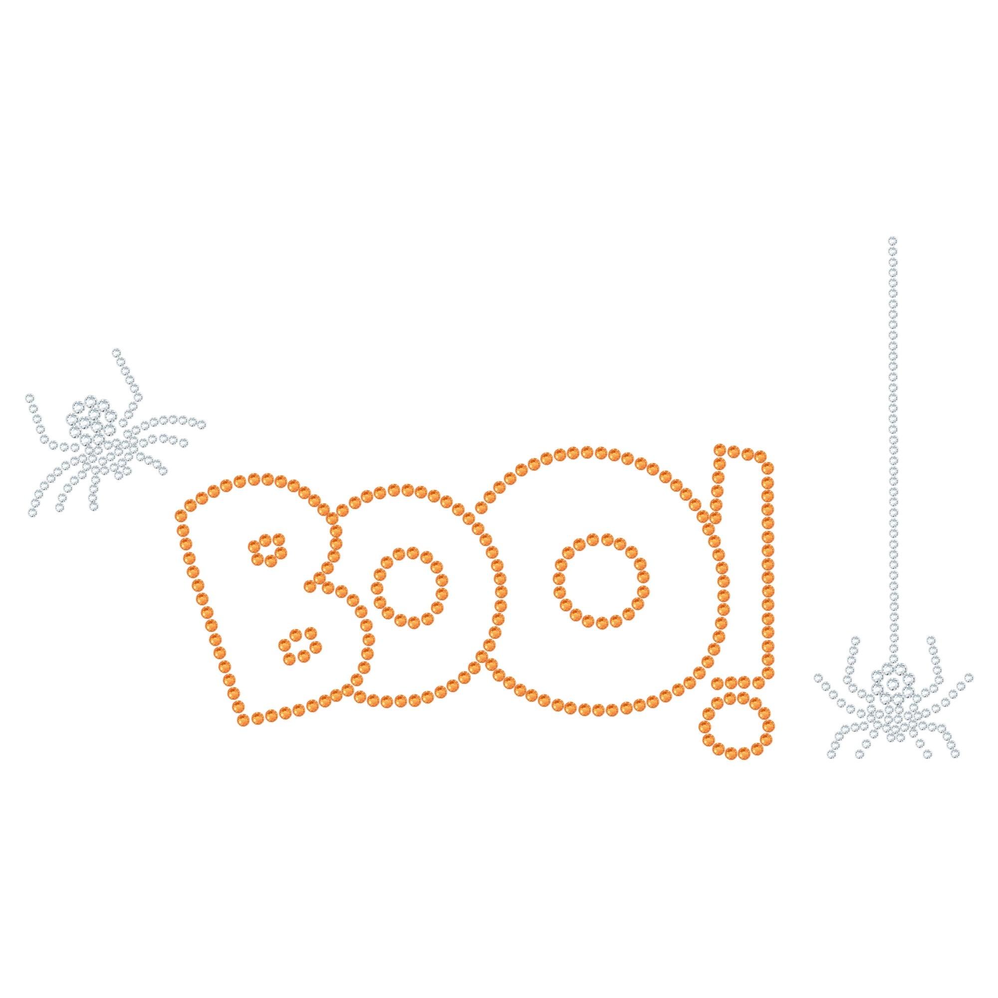 "Halloween Cartina Strass Termoadesivo ""Boo"" 226x124mm"