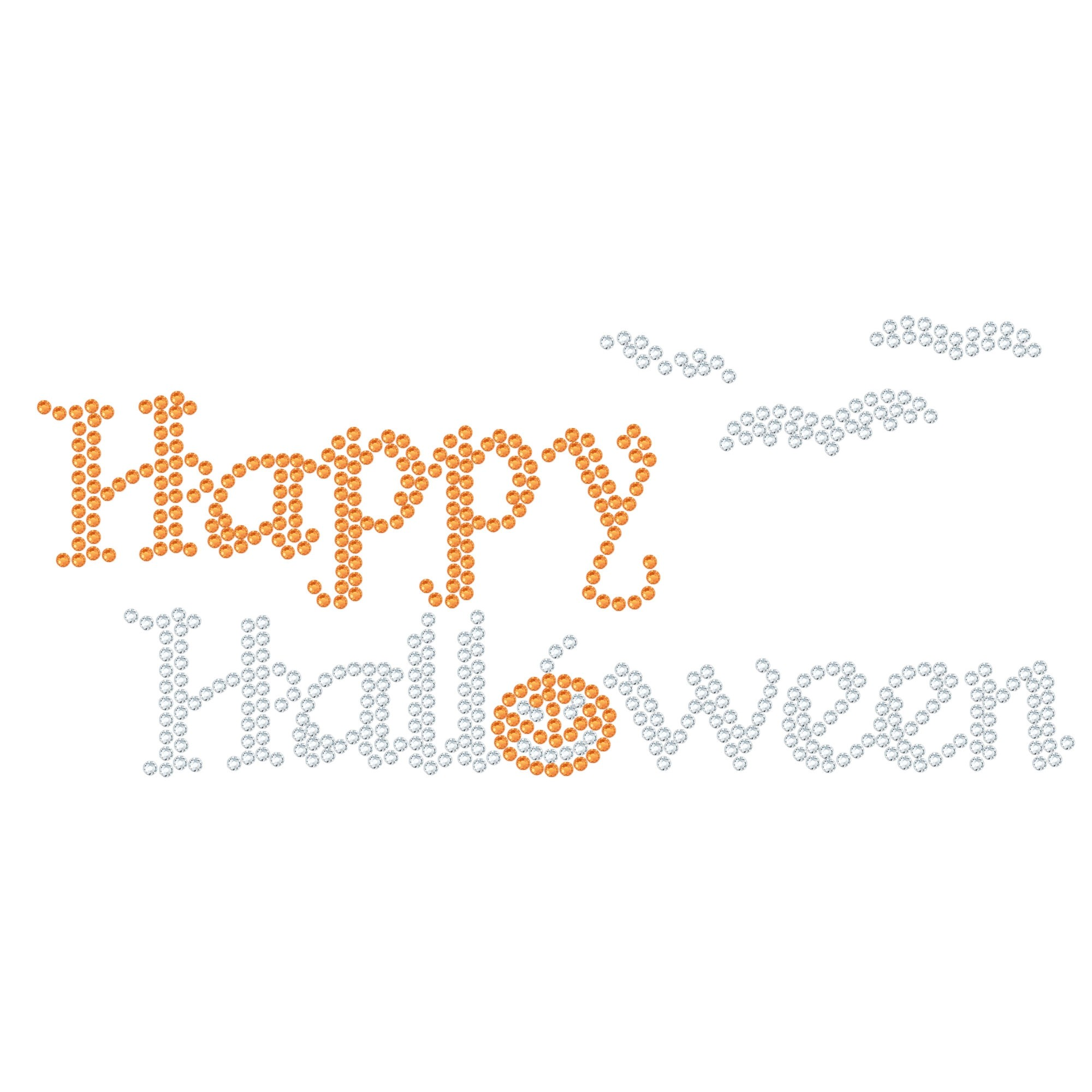"Halloween Cartina Strass Termoadesivo ""Happy Halloween"" 160x71mm"