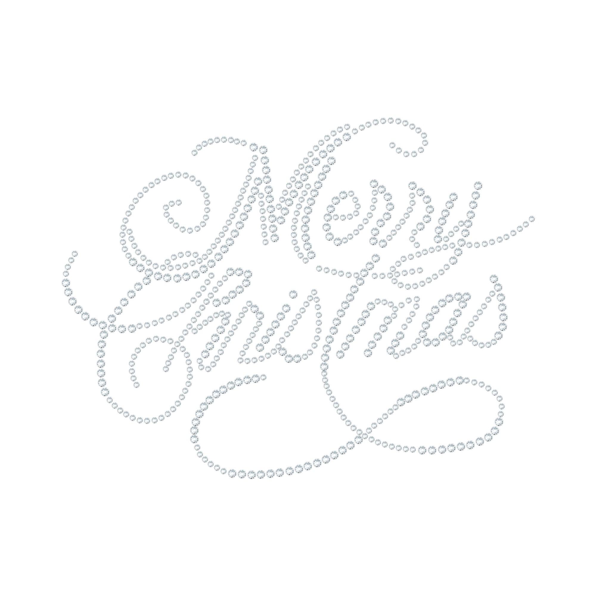 "Cartina Strass Termoadesivo ""Merry Christmas"" 177x135mm"
